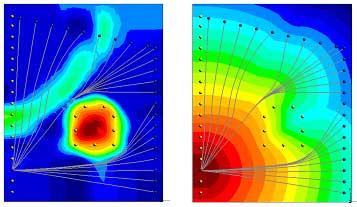 図-1 2次元走時トモグラフィによる波線の例