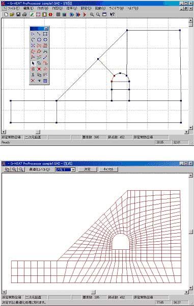図-2 高度な作図機能と直感的なユーザーインターフェースにより、解析モデルの作成やメッシュ分割などを快適にこなすことができます。