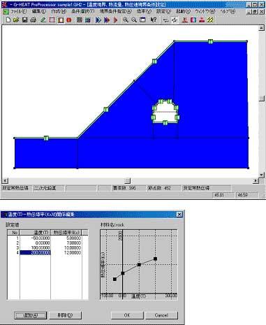 図-3 材料定数の入力や境界条件の設定も、マウス操作によって短時間に行うことができます。