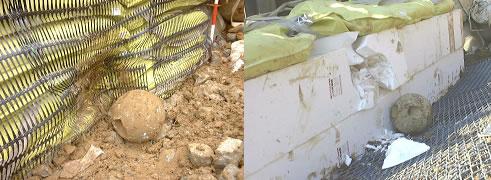 図-7 土のう緩衝材およびEPS緩衝材の変形状況