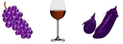 ポリフェノールを含む写真(葡萄、ワイン、茄子)