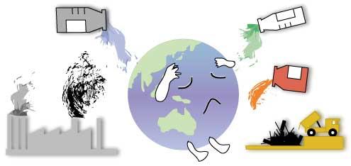 地球が汚染されているイメージ図