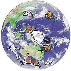 地球の内側に居るshigeと仲間達の図