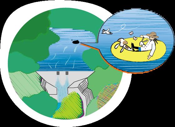 shige、仲間たちと水面に浮かぶの図